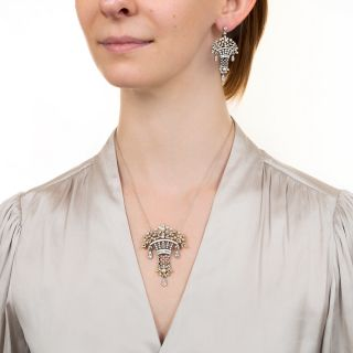 Belle Epoque Style Diamond, Pearl and Enamel Earrings and Necklace