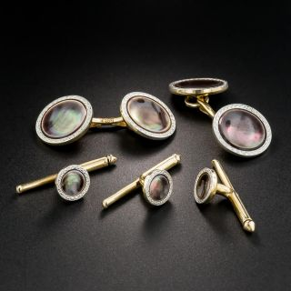 Black Mother Of Pearl Cufflinks and Stud Set by Larter & sons - 2
