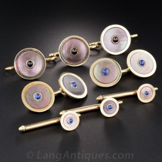 Black Mother-of-Pearl with Sapphire Stud Set by Carrington and Co. - 1