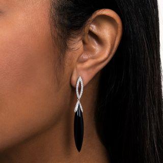 Black Onyx and Pave Diamond Earrings