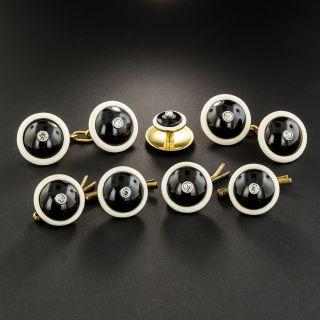 Black Onyx, White Enamel and Diamond Cufflinks and Stud Set - 3