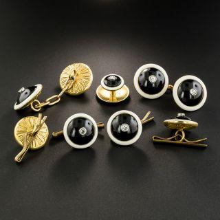 Black Onyx, White Enamel and Diamond Cufflinks and Stud Set