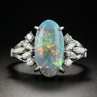 Black Opal Diamond Platinum Ring