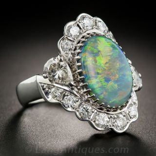 Black Opal, Platinum and Diamond Ring