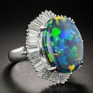 Black Opal Platinum and Diamond Ring