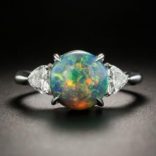 Black Opal Platinum Diamond Ring - 1
