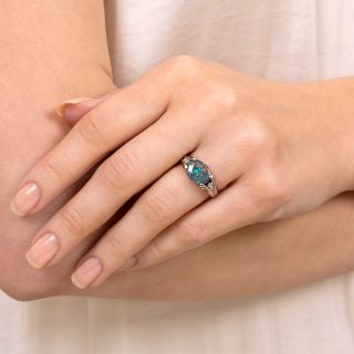 Estate 1.56 Carat Black Opal and Diamond Ring