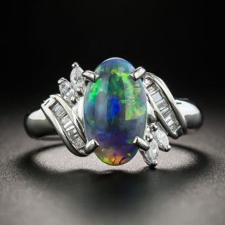 Black Opal Platinum Diamond Ring