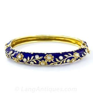 Blue Enamel Bangle Bracelet with Diamonds