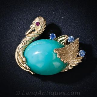 Blue Stone, Sapphire and Ruby Swan Pin