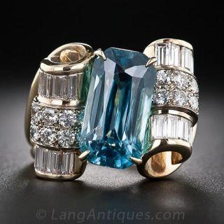 Blue Zircon and Diamond Estate Cocktail Ring