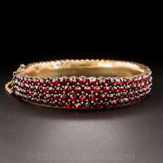 Bohemian Garnet Bangle Bracelet
