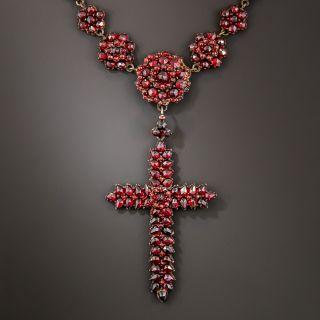 Bohemian Garnet Cross Necklace - 2