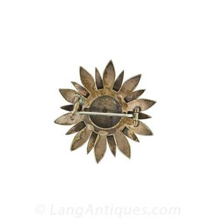 Bohemian Garnet Flower Pin