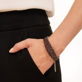 Bohemian Garnet Four-Row Bangle Bracelet