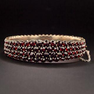 Bohemian Garnet Four-Row Bangle Bracelet - 1