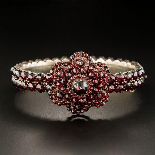 Bohemian Garnet Hinged Bangle Bracelet - 2