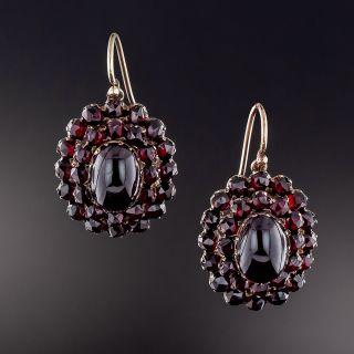 Bohemian Garnet Oval Cluster Earrings - 1