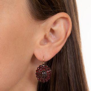 Bohemian Garnet Oval Cluster Earrings