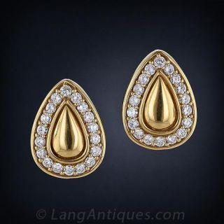 Bold Gold Diamond Clip Earrings