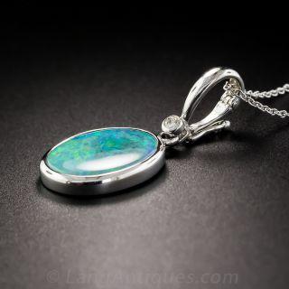 Boulder Opal and Diamond Pendant