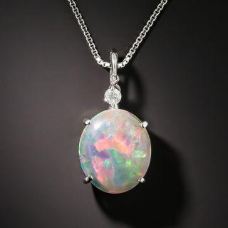 Boulder Opal Platinum Diamond Pendant  - 1