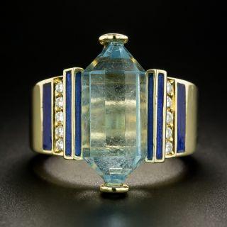Briolette-Cut Aquamarine, Diamond and Blue Enamel Ring - 2