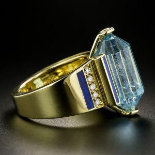 Briolette-Cut Aquamarine, Diamond and Blue Enamel Ring