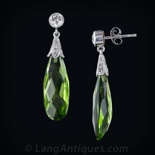 Briolette Cut Peridot and Diamond Drop Earrings