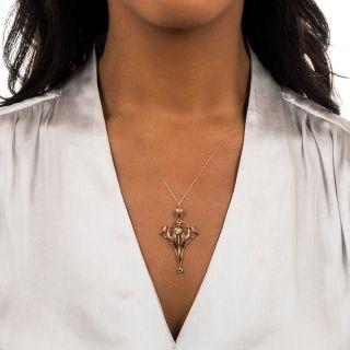 British Art Nouveau Peridot Pendant Necklace