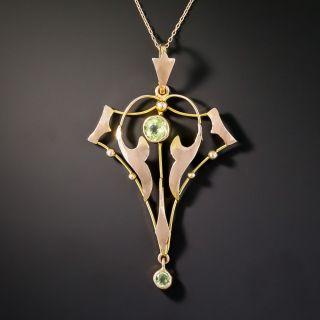 British Art Nouveau Peridot Pendant Necklace - 2