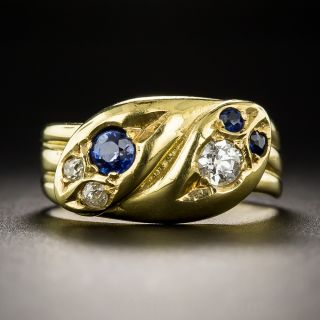 British Sapphire and Diamond Double Snake Ring