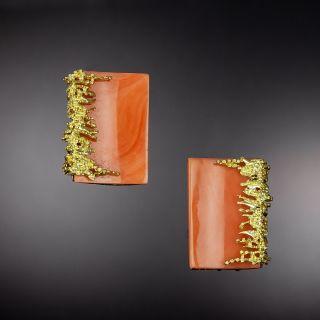 Brutalist Coral Earrings - 1