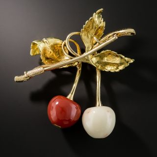 Buccellati Red and White Coral Cherry Brooch