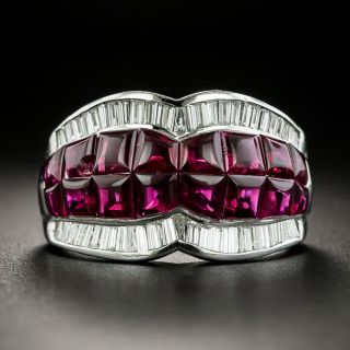 Buff Top Ruby and Diamond Band Ring - 1