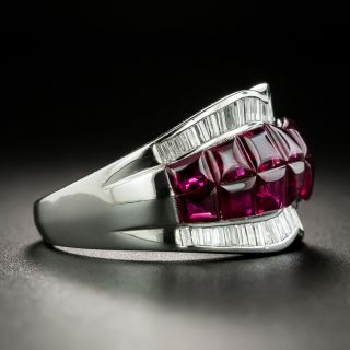 Buff Top Ruby Platinum Diamond Band Ring
