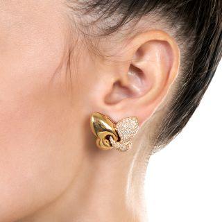 "Bulgari ""Farfalla"" Butterfly Diamond Clip Earrings"