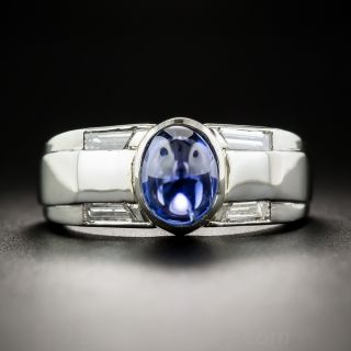 Bullet Cabochon Sapphire and Diamond Ring