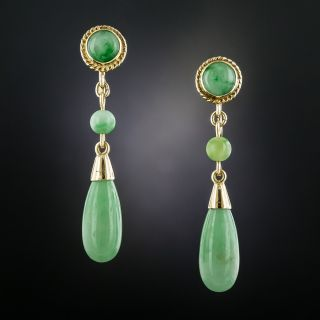 Burmese Jade Drop Earrings - 2