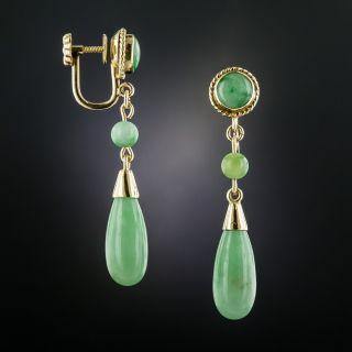 Mid-Century Burmese Jade Drop Earrings