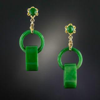 Burmese Jade Interlocking Circle Earrings - 5