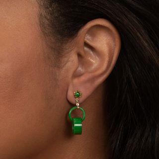 Burmese Jade Interlocking Circle Earrings
