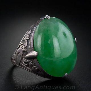 Burmese Jade Ring in Silver