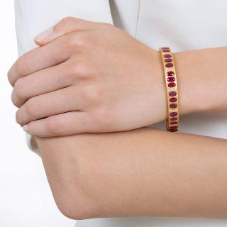 Burmese Ruby and Diamond Hinged Bangle Bracelet
