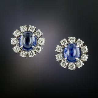 Cabochon Ceylon Sapphire and Diamond Earrings - 3