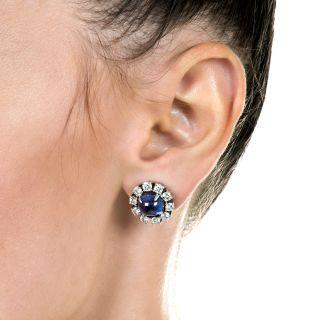 Cabochon Ceylon Sapphire and Diamond Earrings