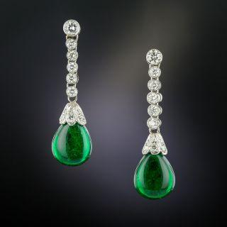 Cabochon Emerald and Diamond Drop Earrings  - 3