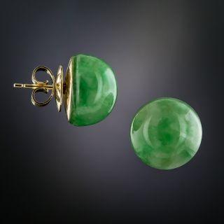 Mid-Century Cabochon Natural Jade Earrings