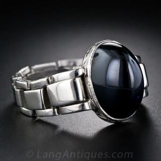 Cabochon Sapphire and Platinum Gents Ring