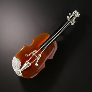 Estate Carnelian and Diamond Violin Brooch - 2